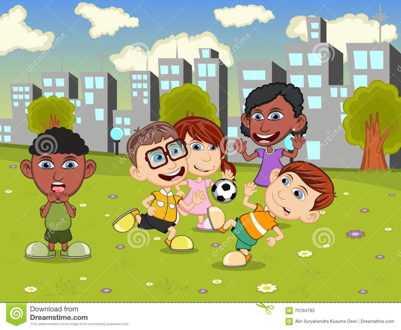 happy little kids playing on the city playground cartoon