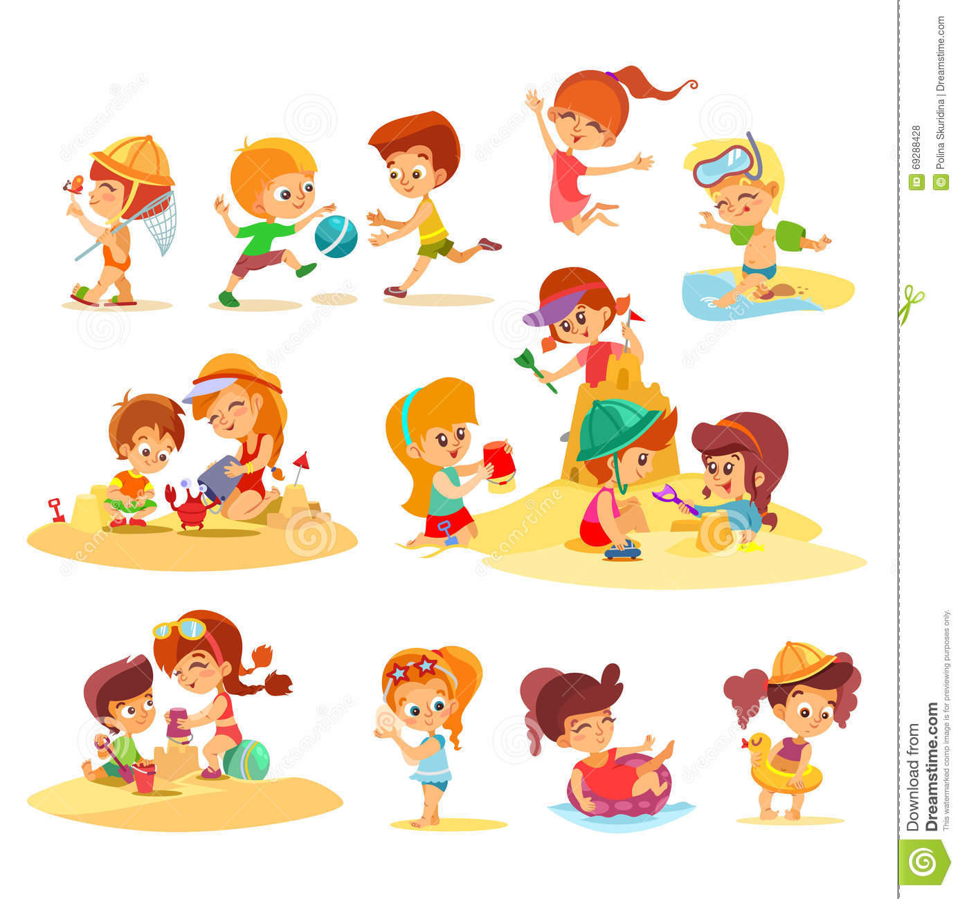 Little Kids Playing Together On Beach In Groups. Stock ...