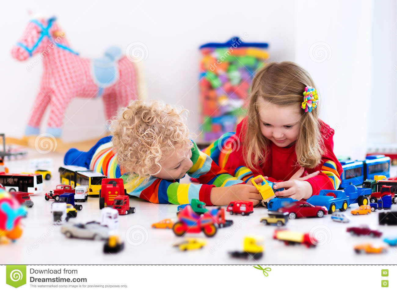 little kids playing with toy cars stock image image of drive friends 74296815. Black Bedroom Furniture Sets. Home Design Ideas
