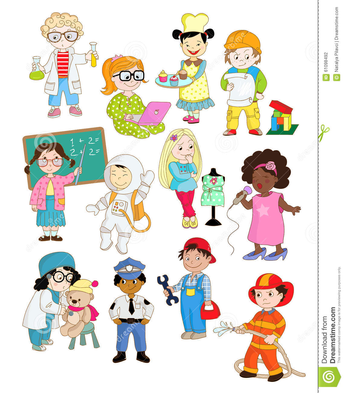 little kids are pretending as adults stock vector image Firefighter Cartoon Firefighter Clip Art
