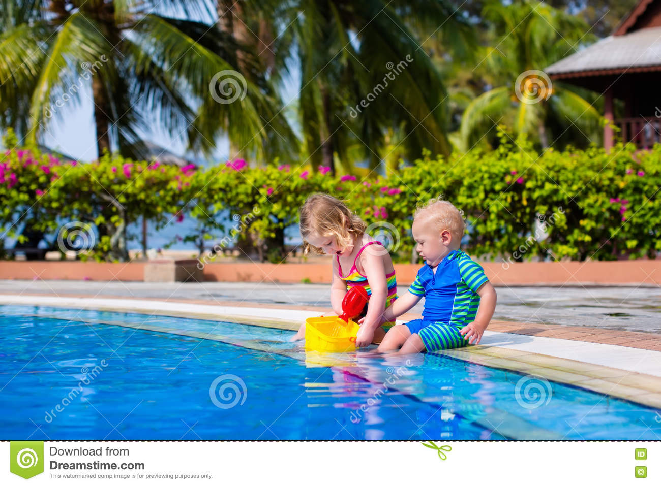 Little Kids In Swimming Pool Stock Photo - Image: 72024796