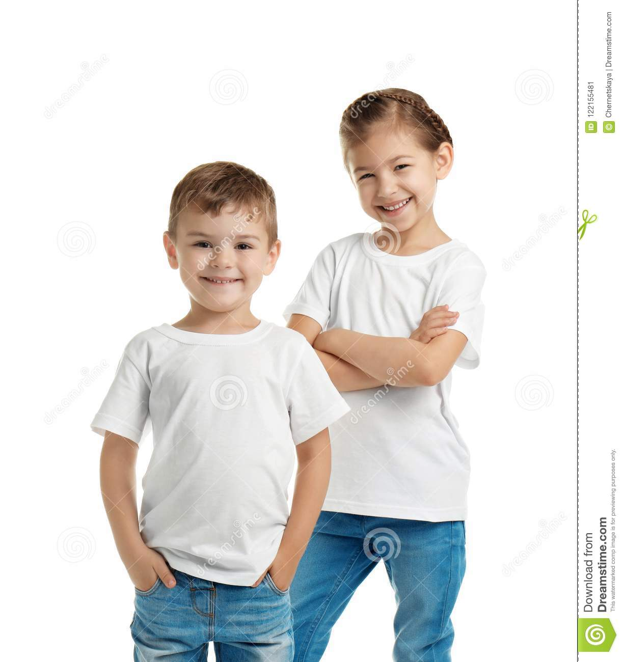 Little Kids In T Shirts On White Background Stock Image Image Of