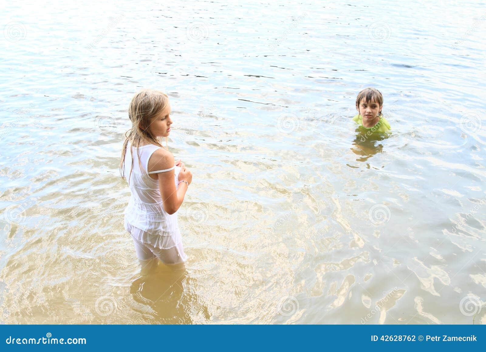 Little kids in water