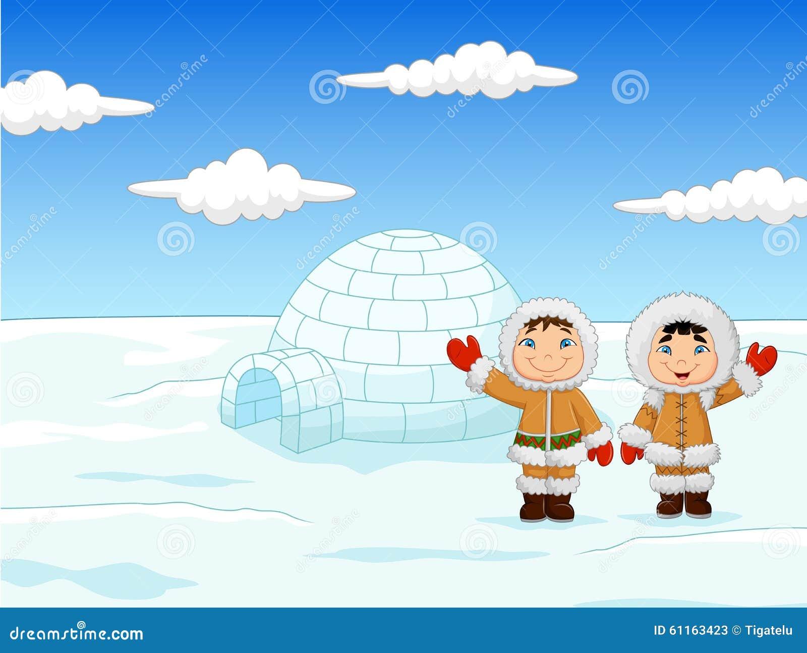 Stock Illustration Little Kids Wearing Traditional Eskimo Costume Igloo House Illustration Image61163423 on 24 X 32 House Plans