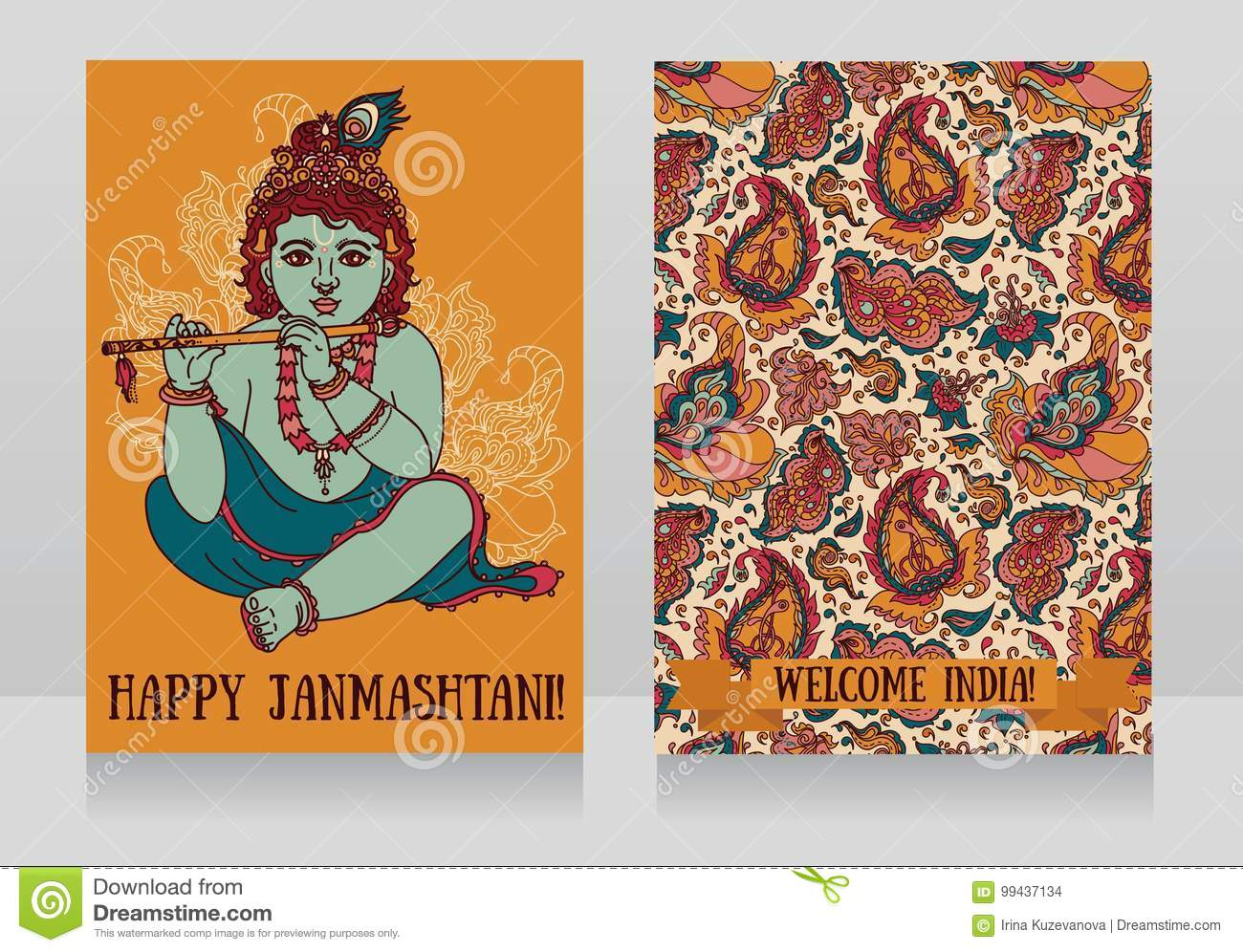 Little Krishna With The Flute On The Greeting Cards For Happy
