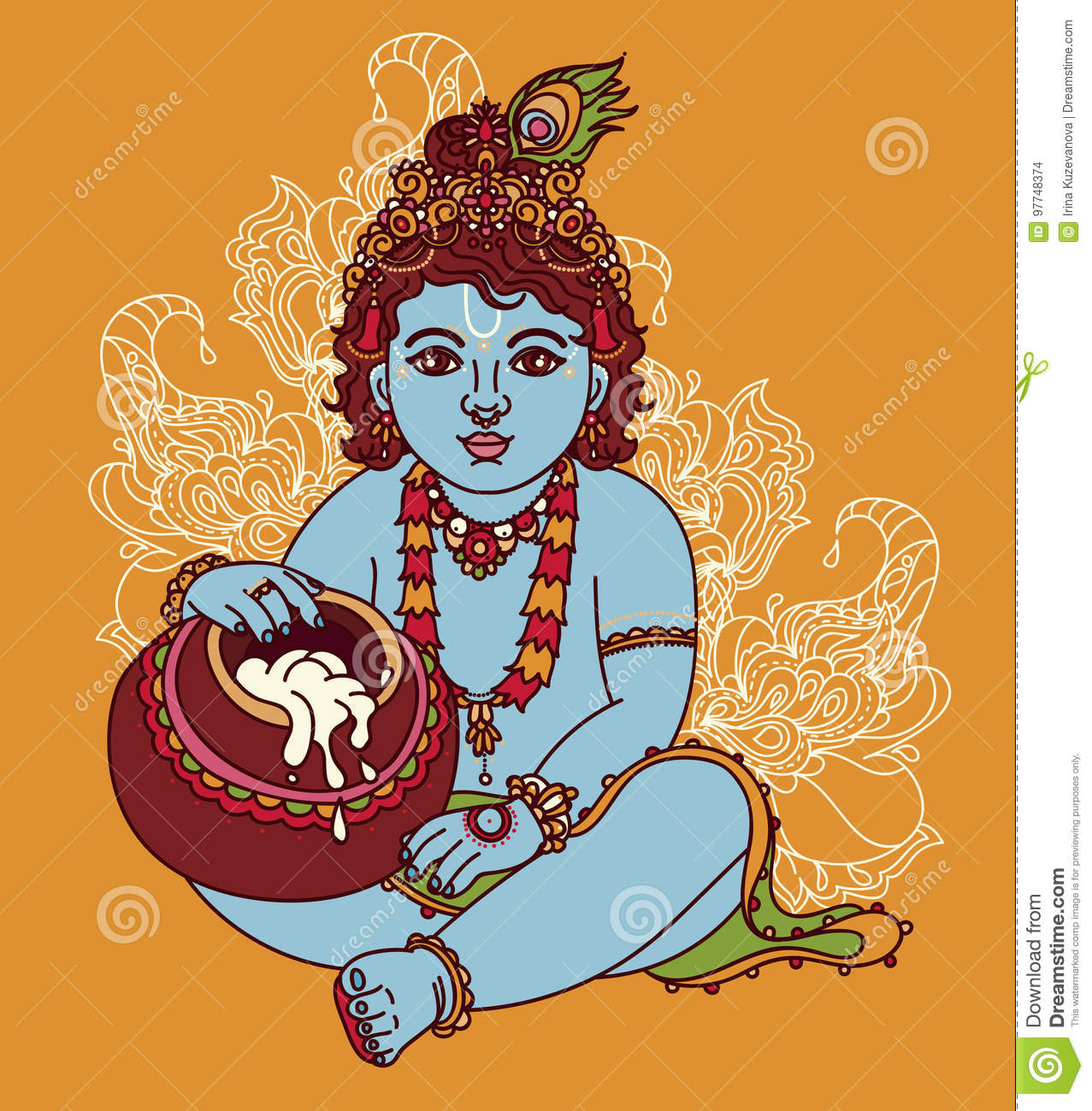 little krishna with a pot of butter stock vector illustration of