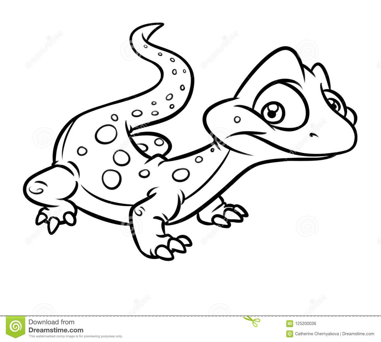 Little Lizard Cartoon Coloring Page Stock Illustration Illustration Of Little Graphics 125200036