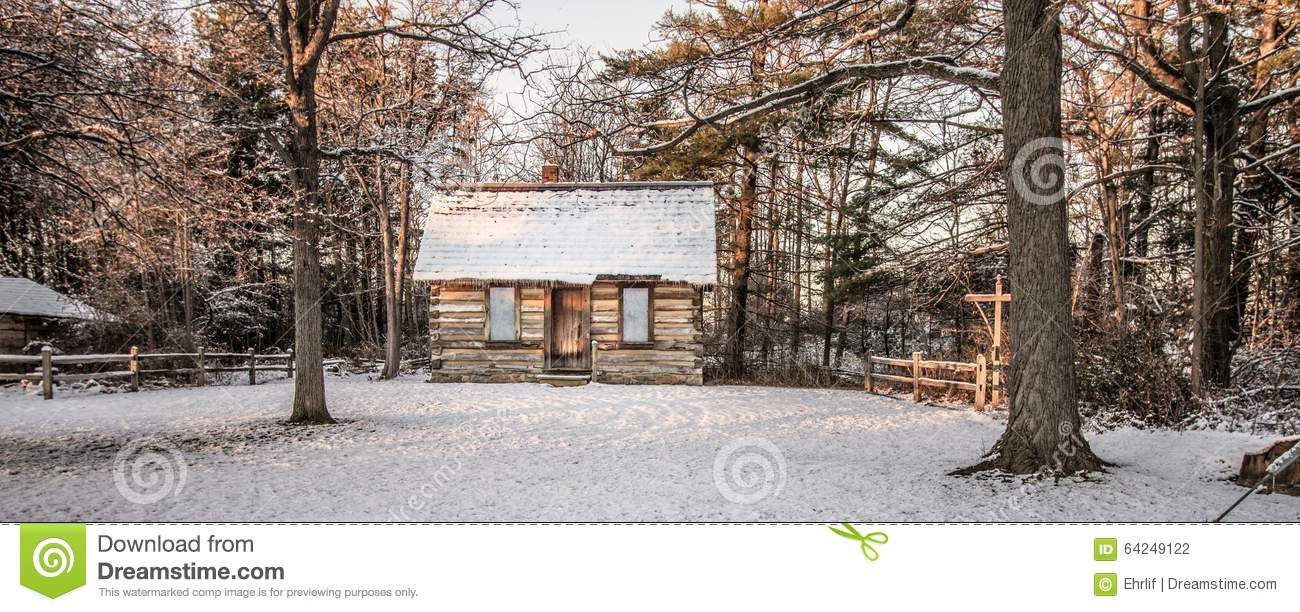 Little Log Cabin In The Woods Stock Photo Image Of Dwelling