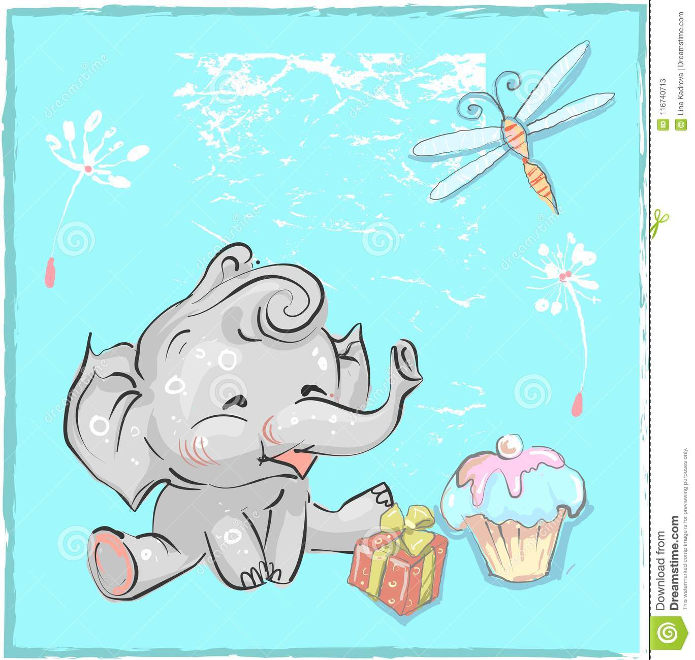 Little lovely elephant birthday with dragonfly and cake for prints little lovely elephant birthday with dragonfly and cake for prints cards t shirts baby shower filmwisefo