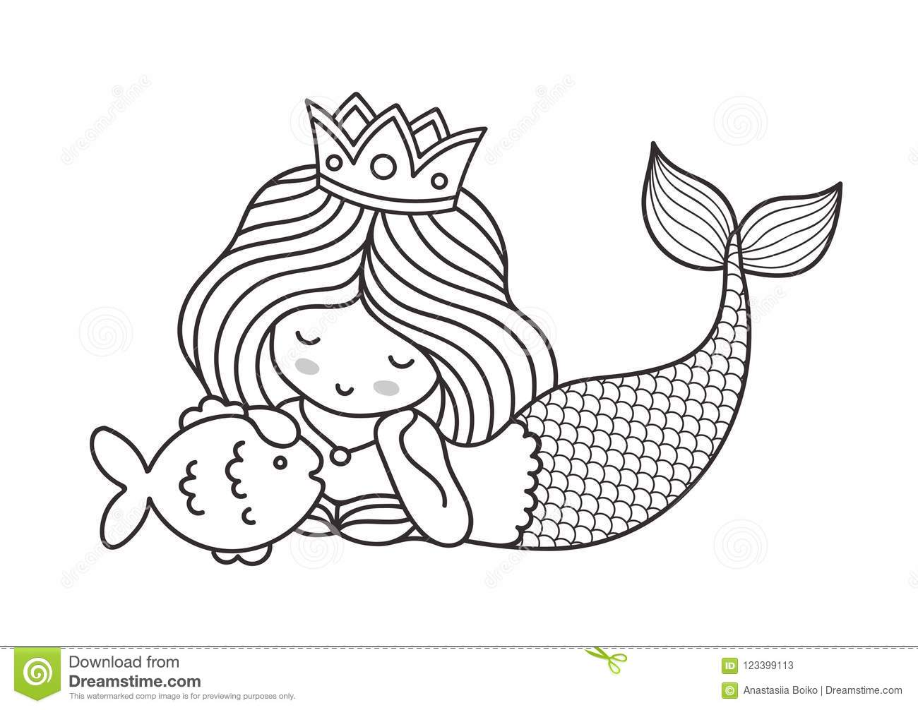 Little Lying Dreamy Princess Mermaid With Fish. Stock ...