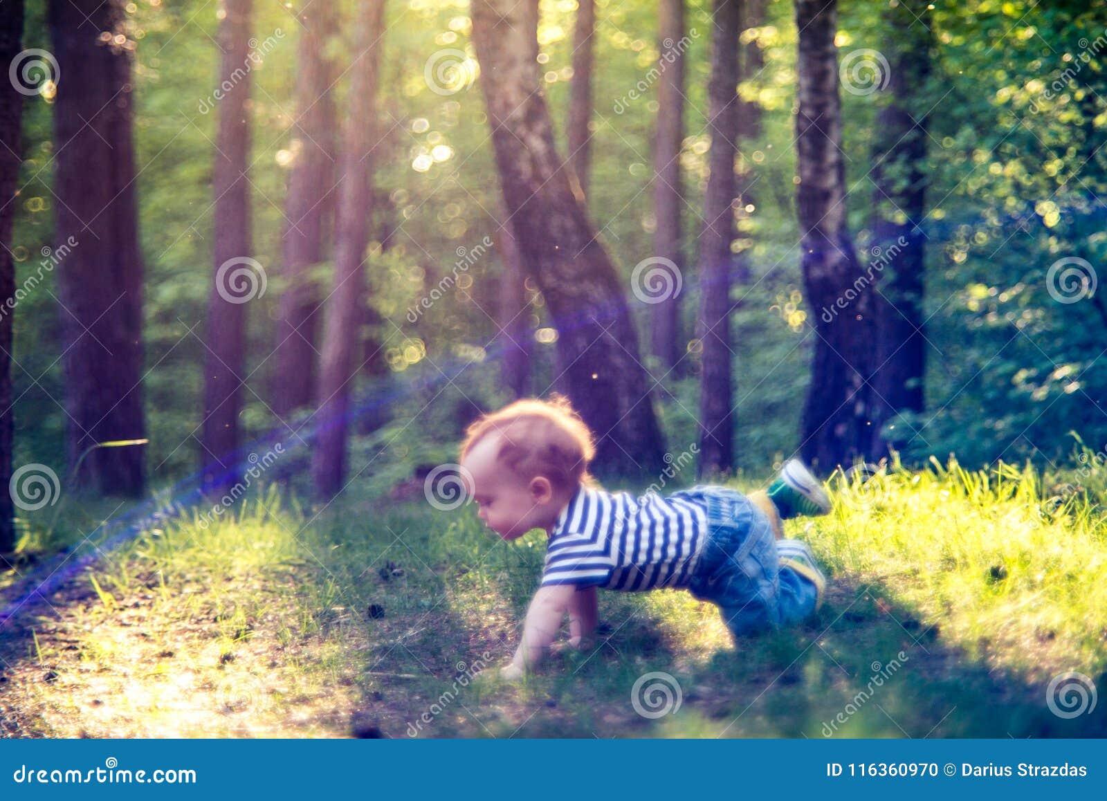 Little man boy in forest crawling