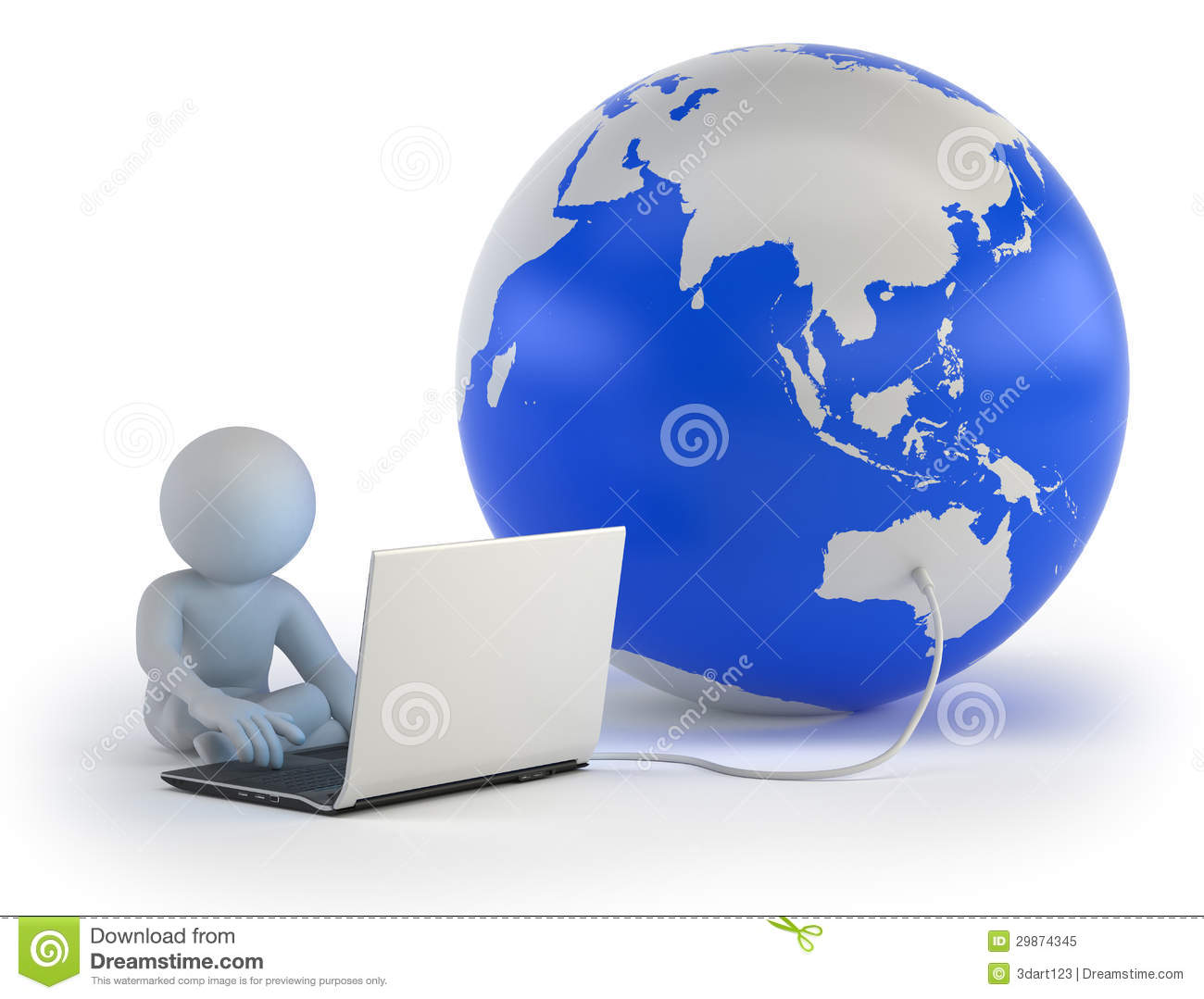 3d Small People Global Communication Royalty Free Stock