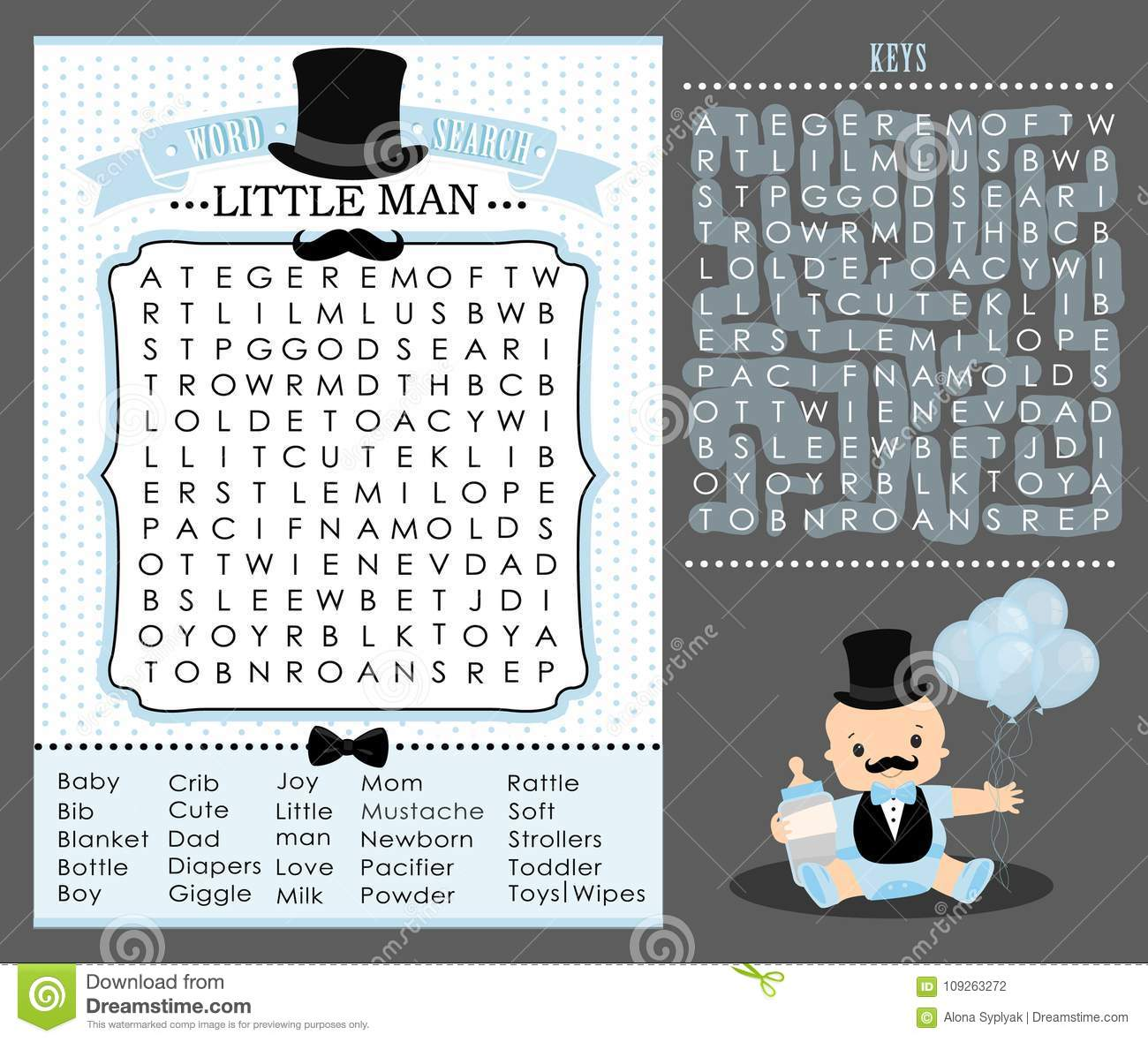 Little Man Party Game First Birthday, Baby Shower Word Search Puzzle ...