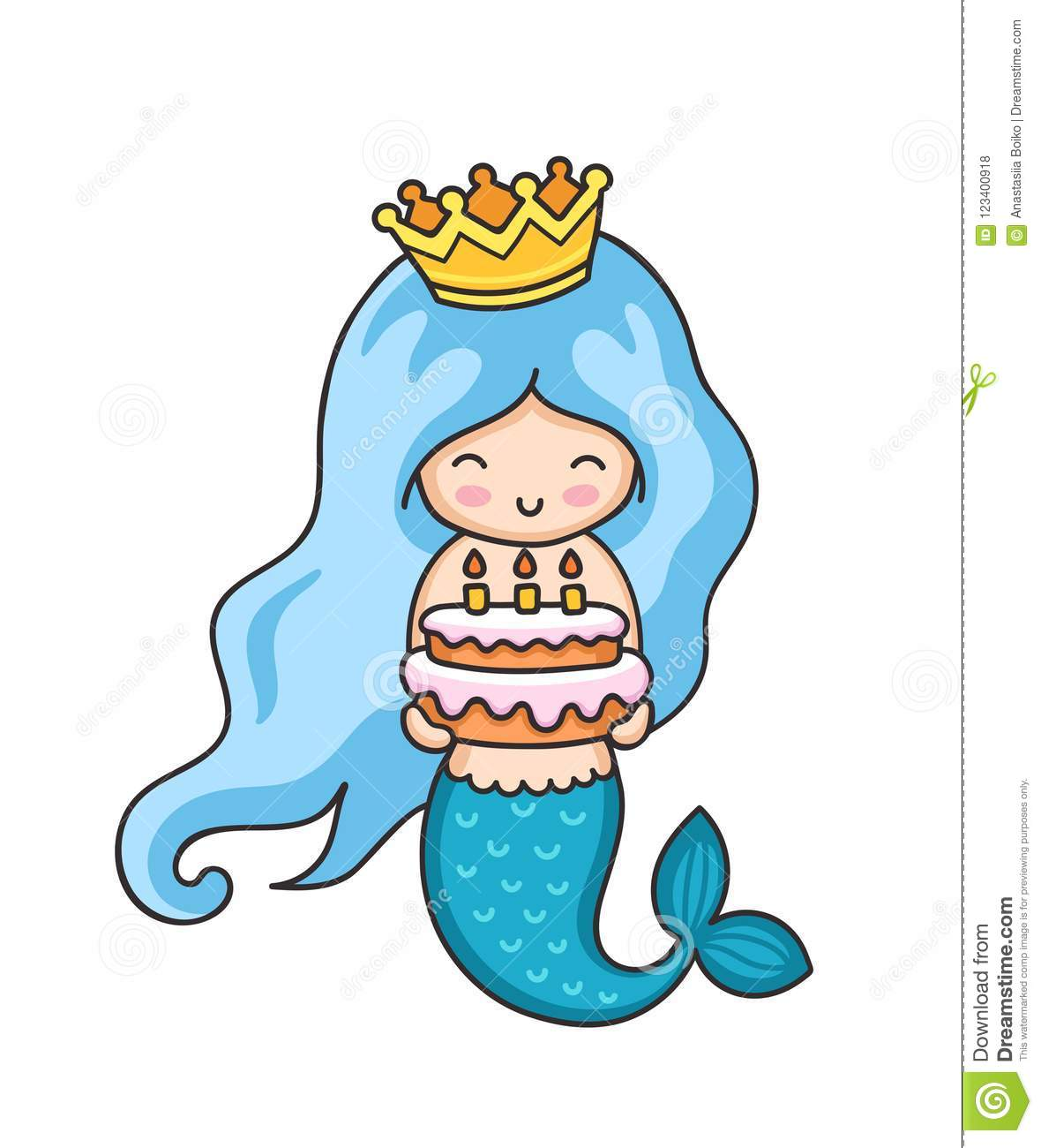 Little Mermaid With Birthday Cake
