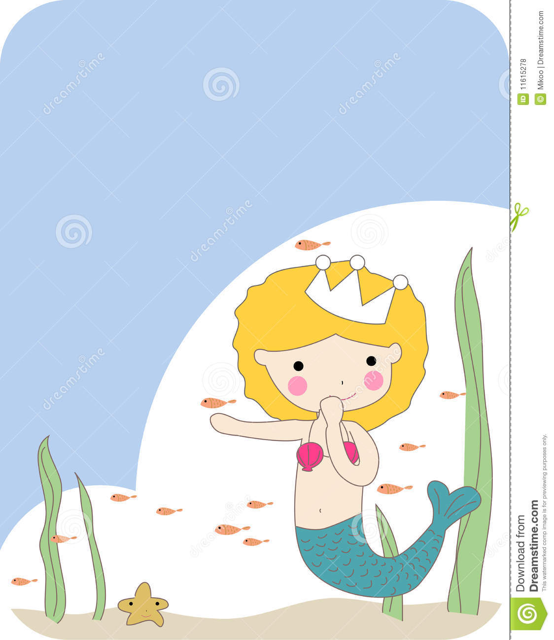 Little Mermaid And Fish Royalty Free Stock Photos Image
