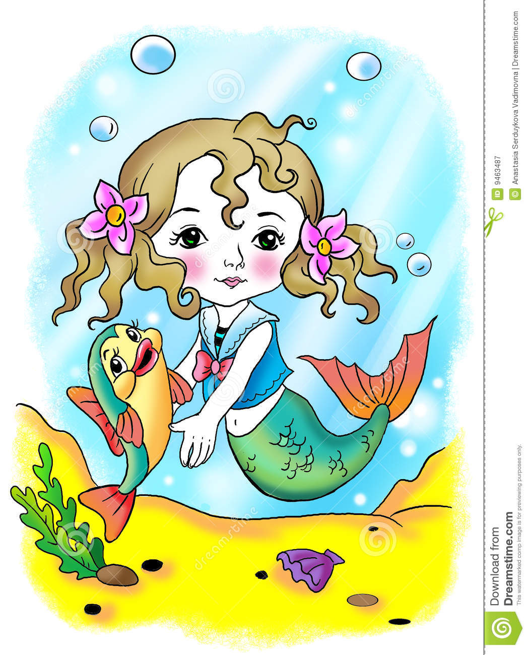 Little mermaid and fish royalty free stock photography for Little mermaid fish