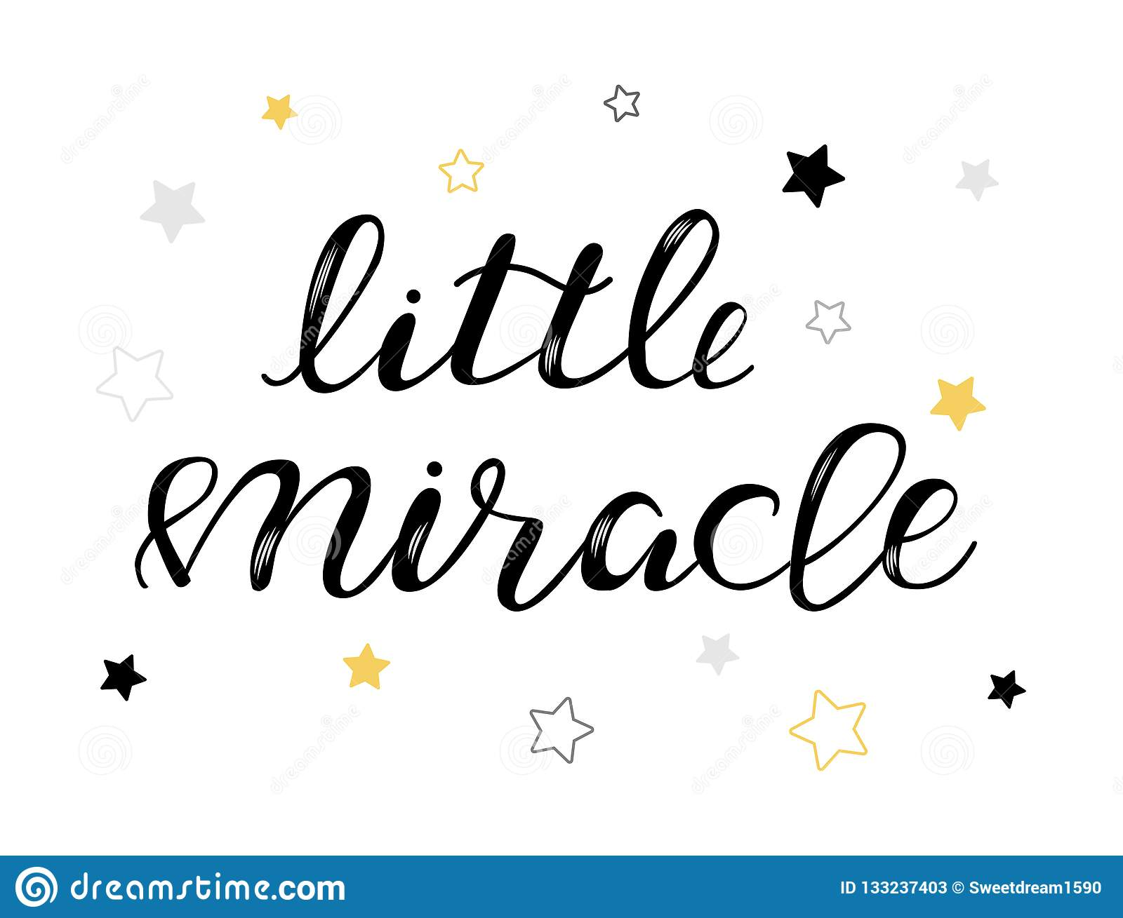 Little Miracle Baby Lettering Quote Kids Design Stock Vector Illustration Of Cool Design 133237403