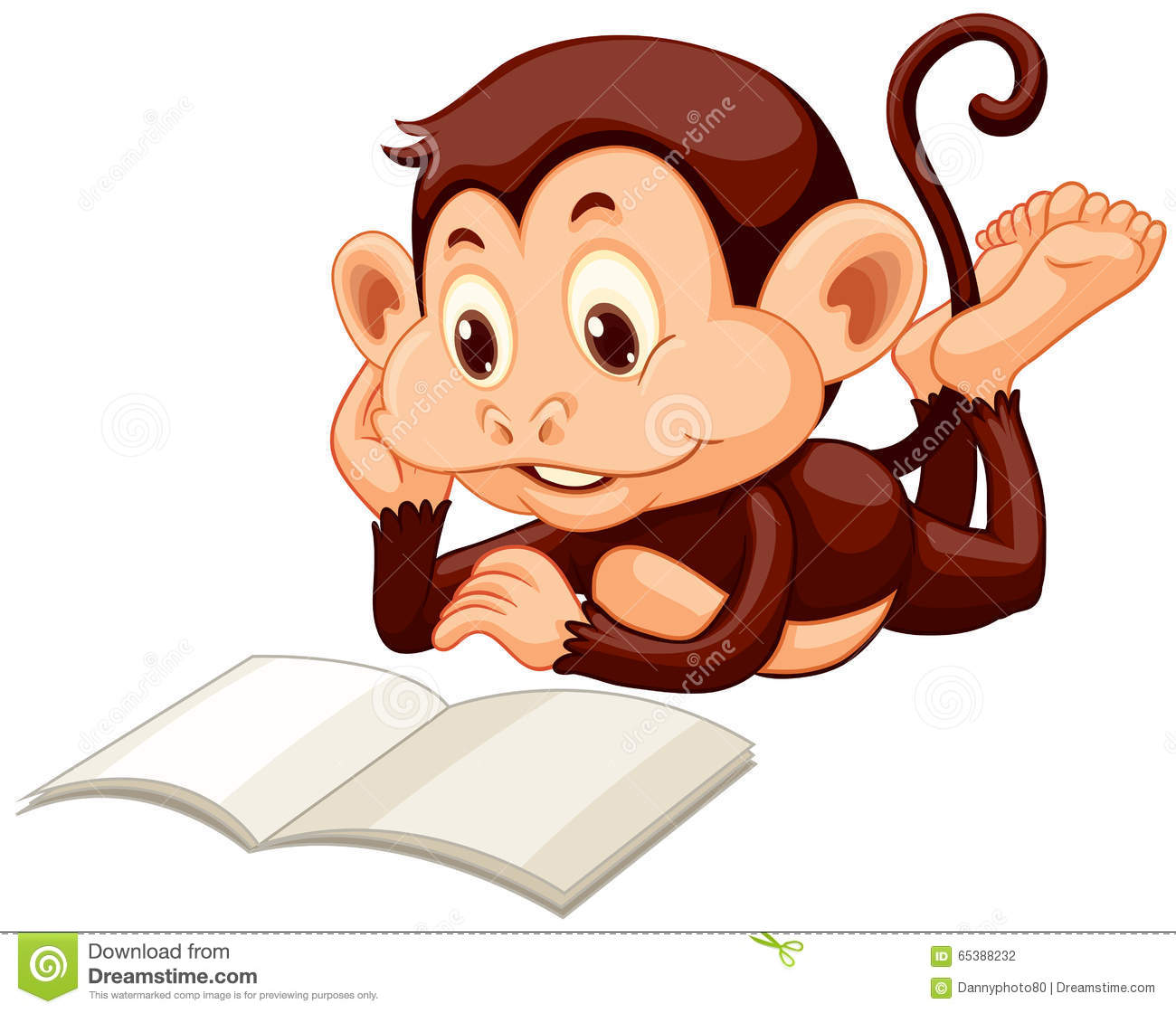Little Monkey Reading A Book Stock Vector Image 65388232