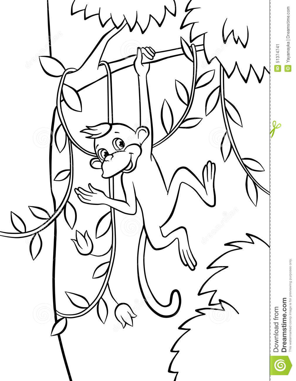 a playful monkey at the tree vector illustration