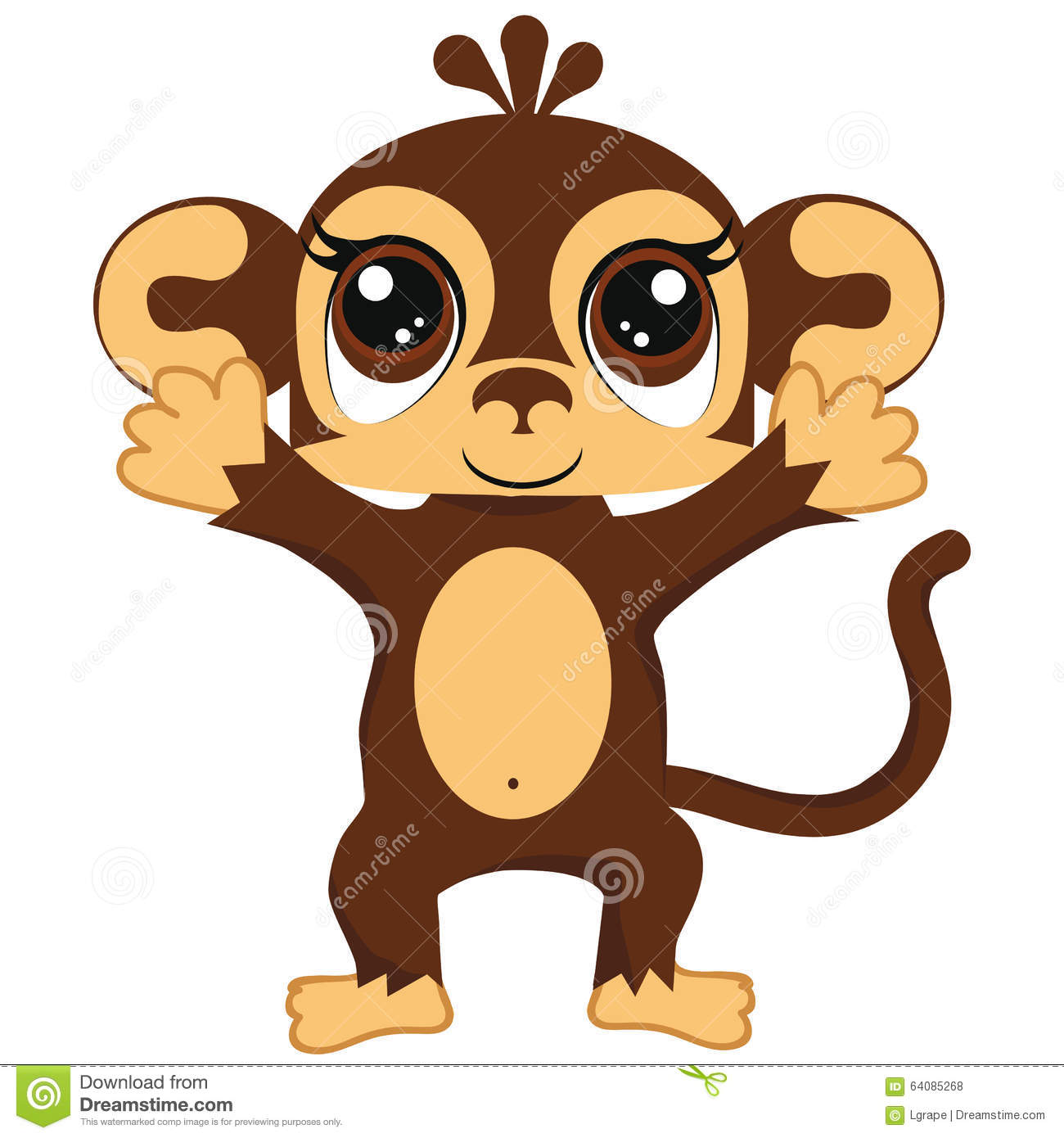 Little Monkey On A White Background Children Clipart