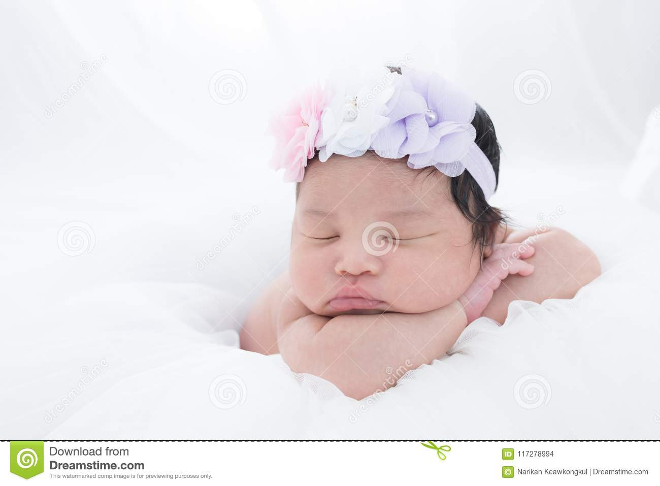 Little Newborn Baby 7 Days Sleeps Stock Photo Image Of Childhood
