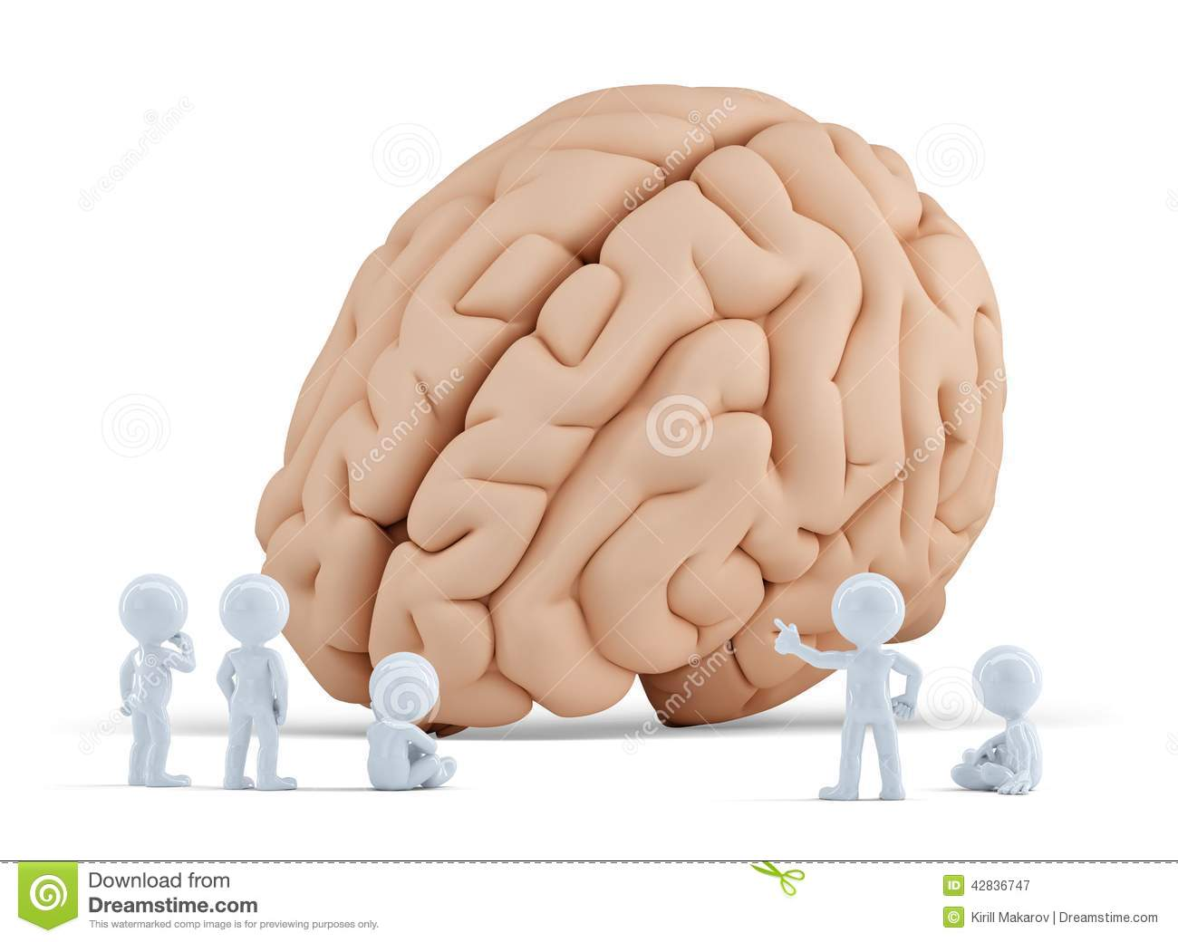 Little People Around Giant Brain. Isolated. Contains Clipping Path ...