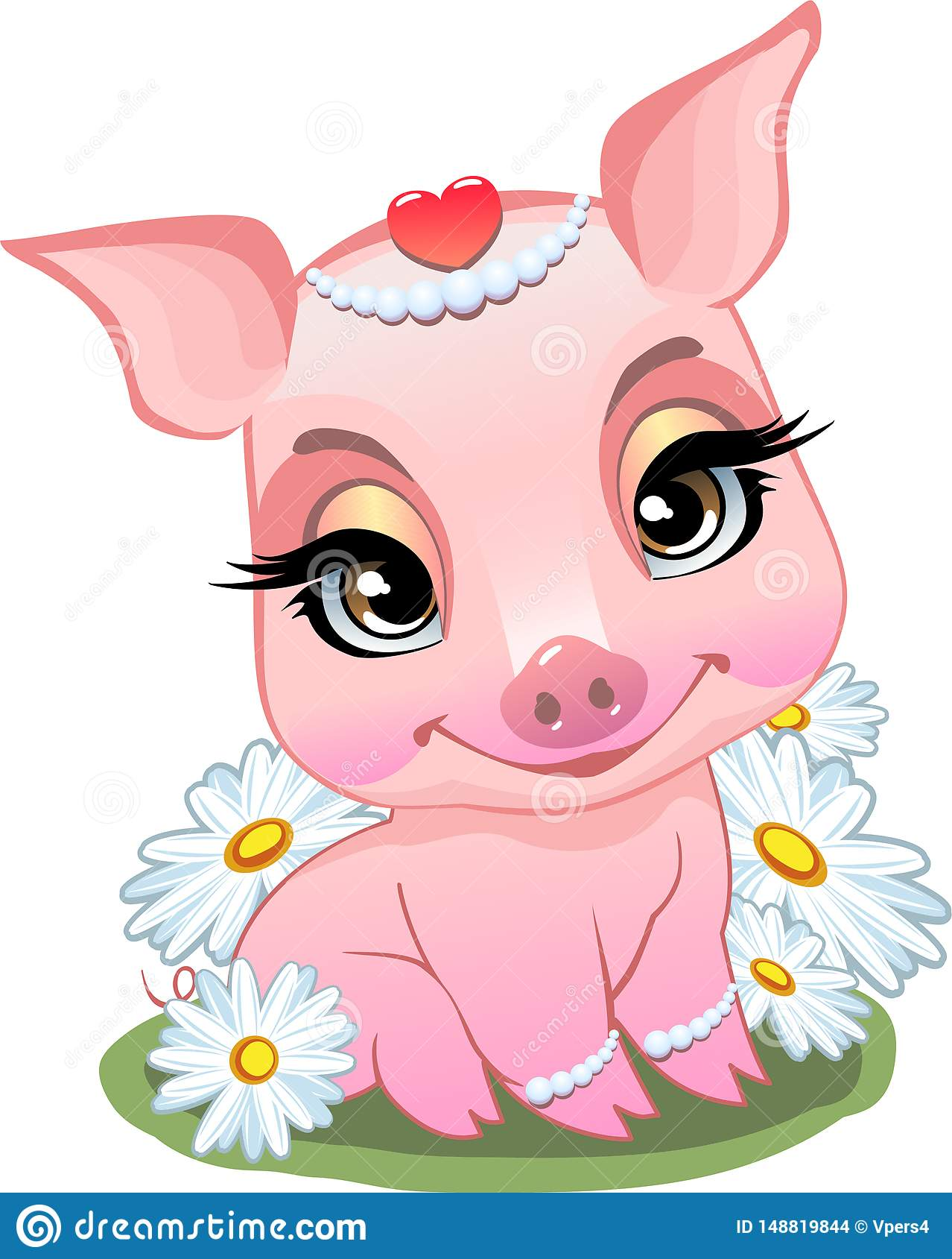 Little pig sitting in daisies.