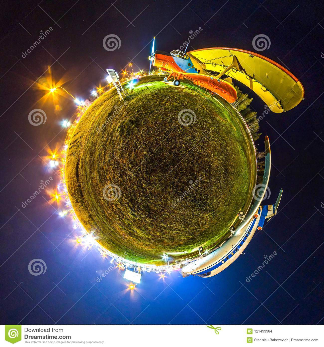 Mini planet Earth. Little planet earth with 360 viewing angel. Globe panorama of world. Planes at night with lights.