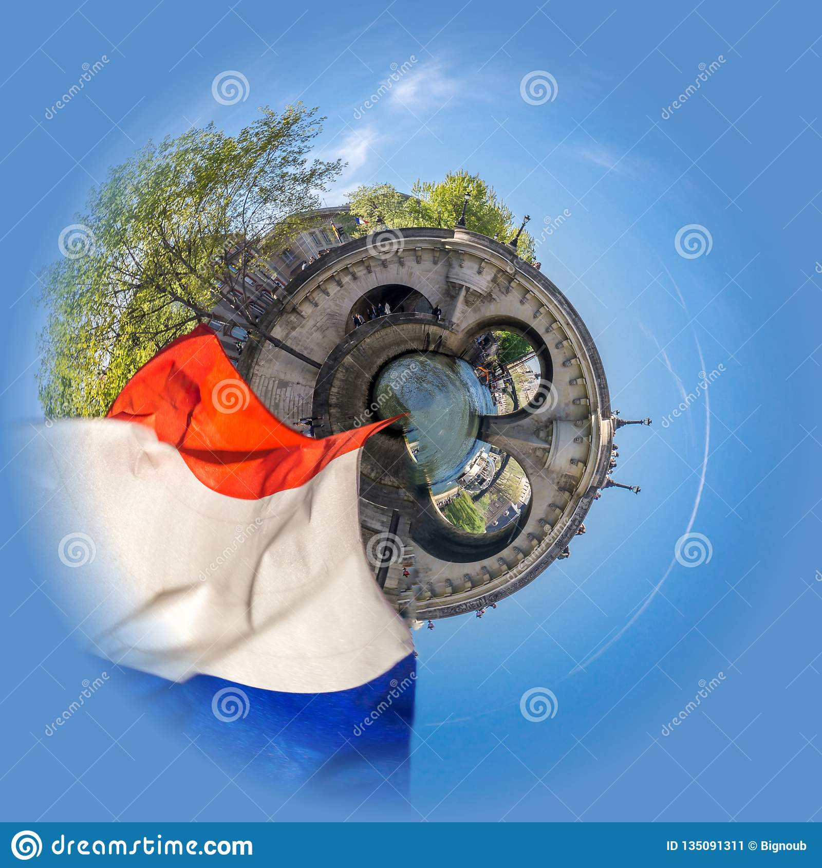 Little planet view of Cruising on a peniche boat in Paris in spring, with a bridge and french flag in the foreground