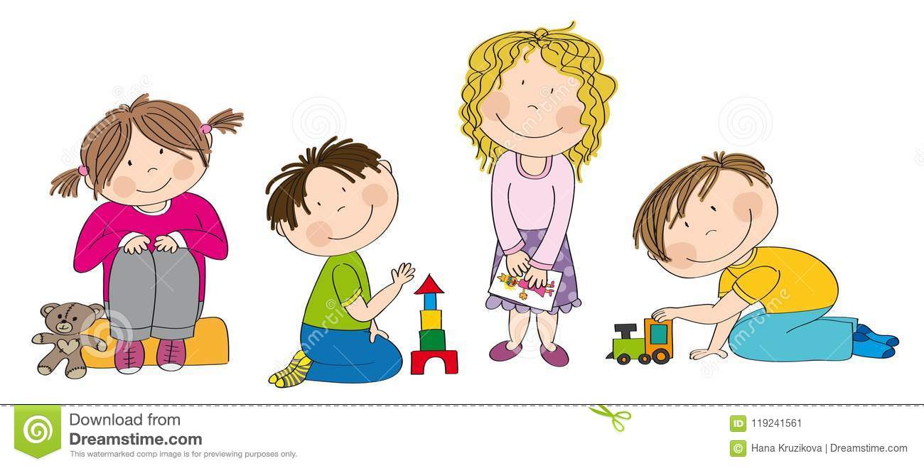 Little Preschool Children Playing Together Stock Vector