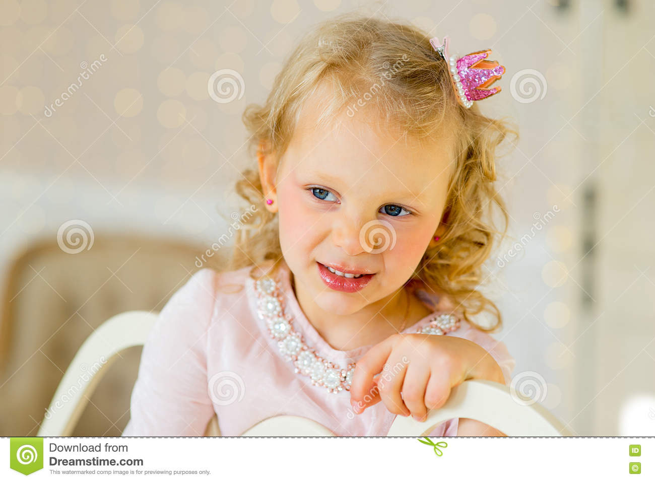 Little princess on the bed royalty free stock photography for Small princess