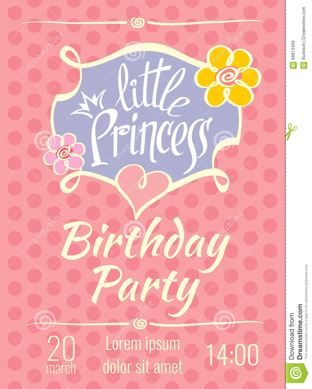Birthday invitation card templates romeondinez little princess birthday party vector poster or invitation card birthday invitation card templates stopboris Gallery