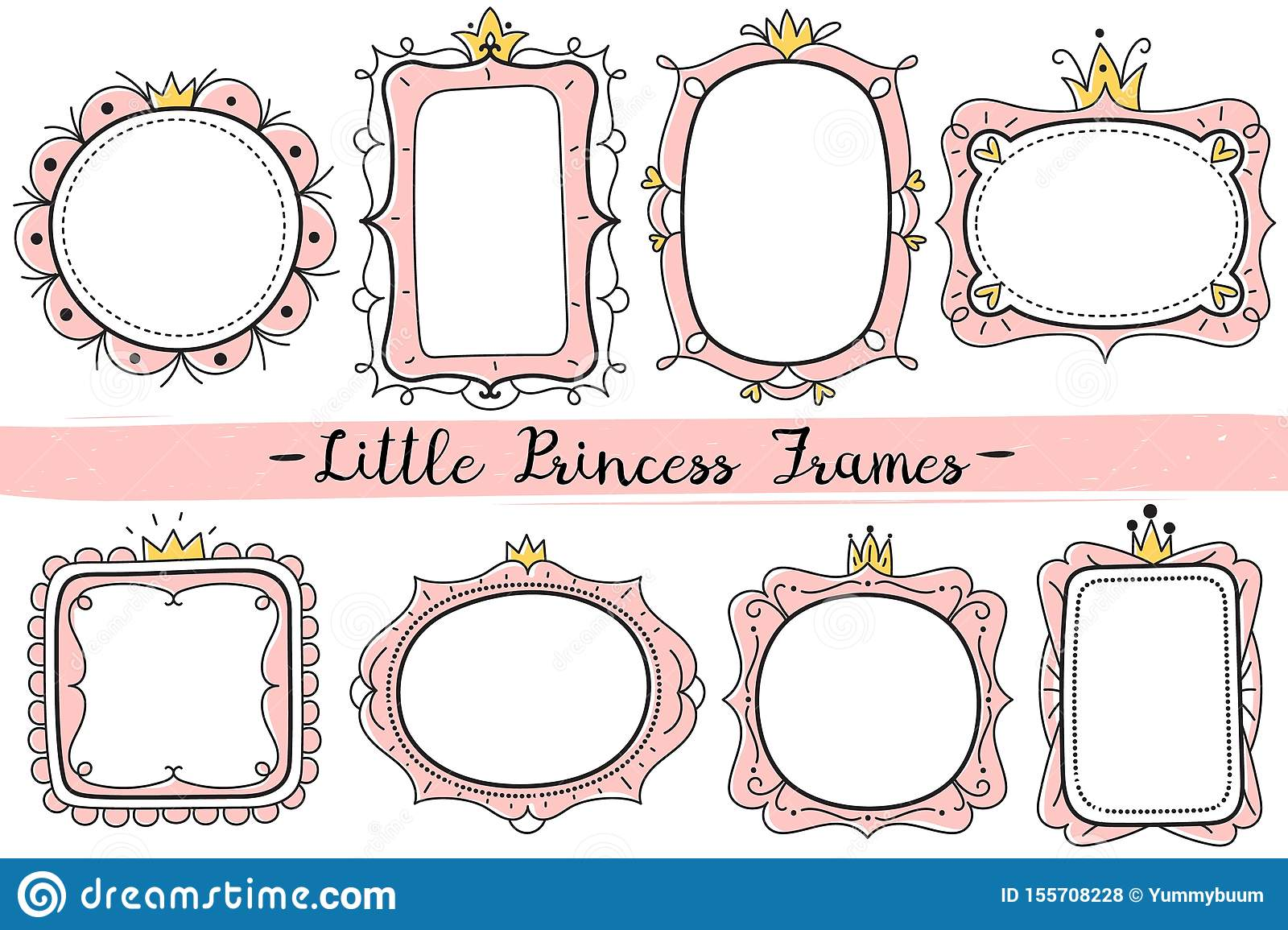 Little Princess Frames Pink Cute Mirrors Frame Baby Girl