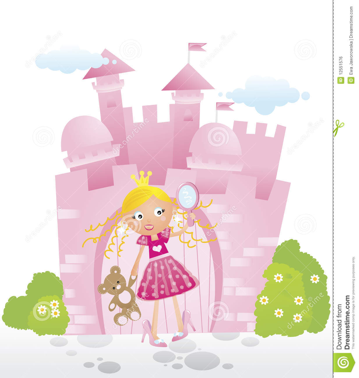 Little princess in front of her castle stock vector for Little princess castle