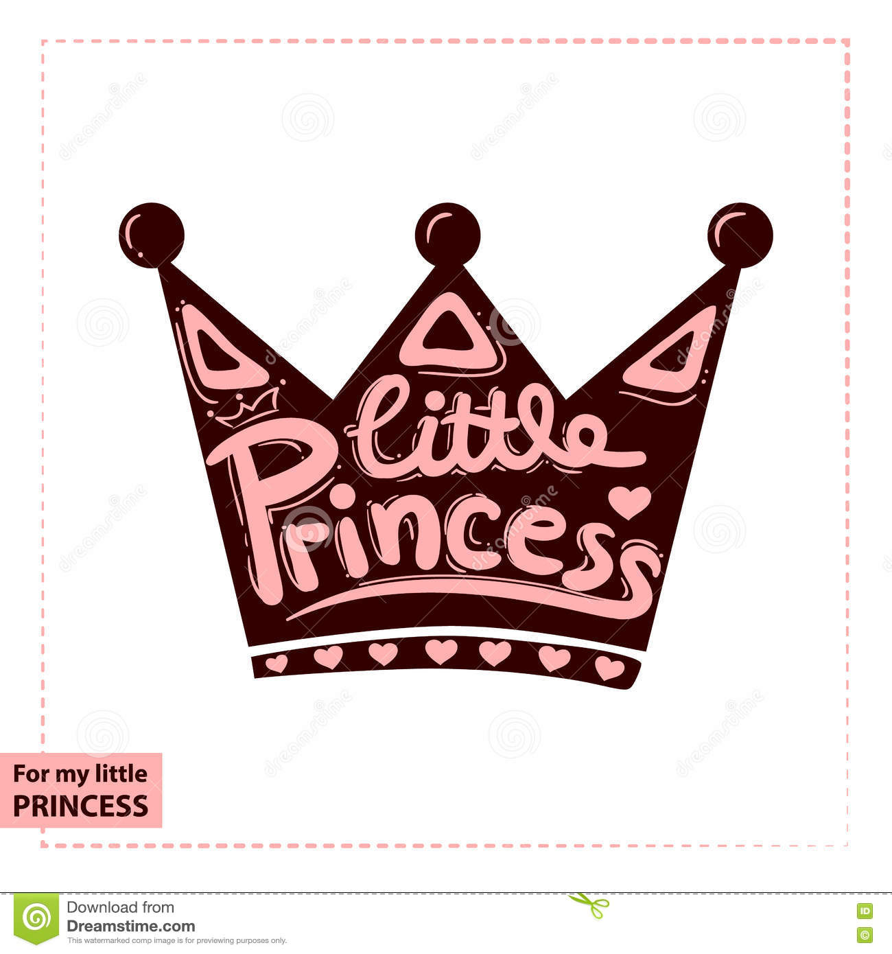 Design t shirt girl - Little Princess Lettering For Girl T Shirt Design On The Crown Royalty Free Stock