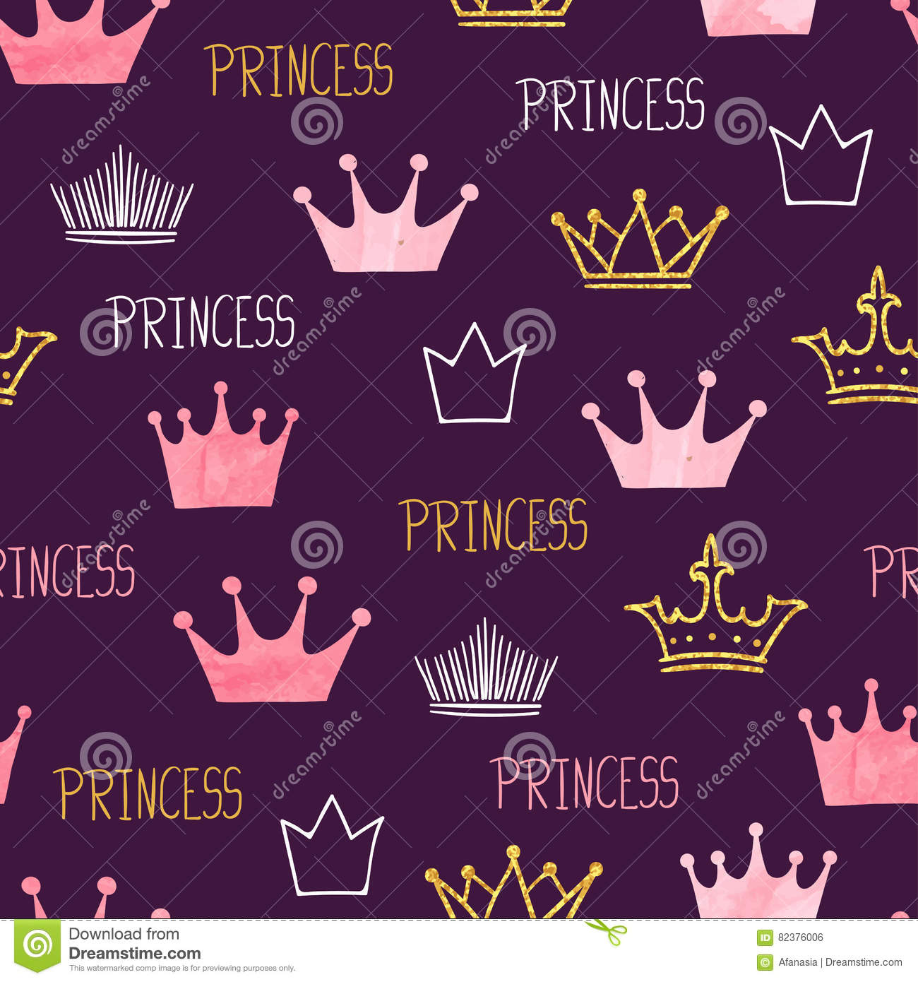 Little princess seamless pattern with watercolor and glittering crowns.