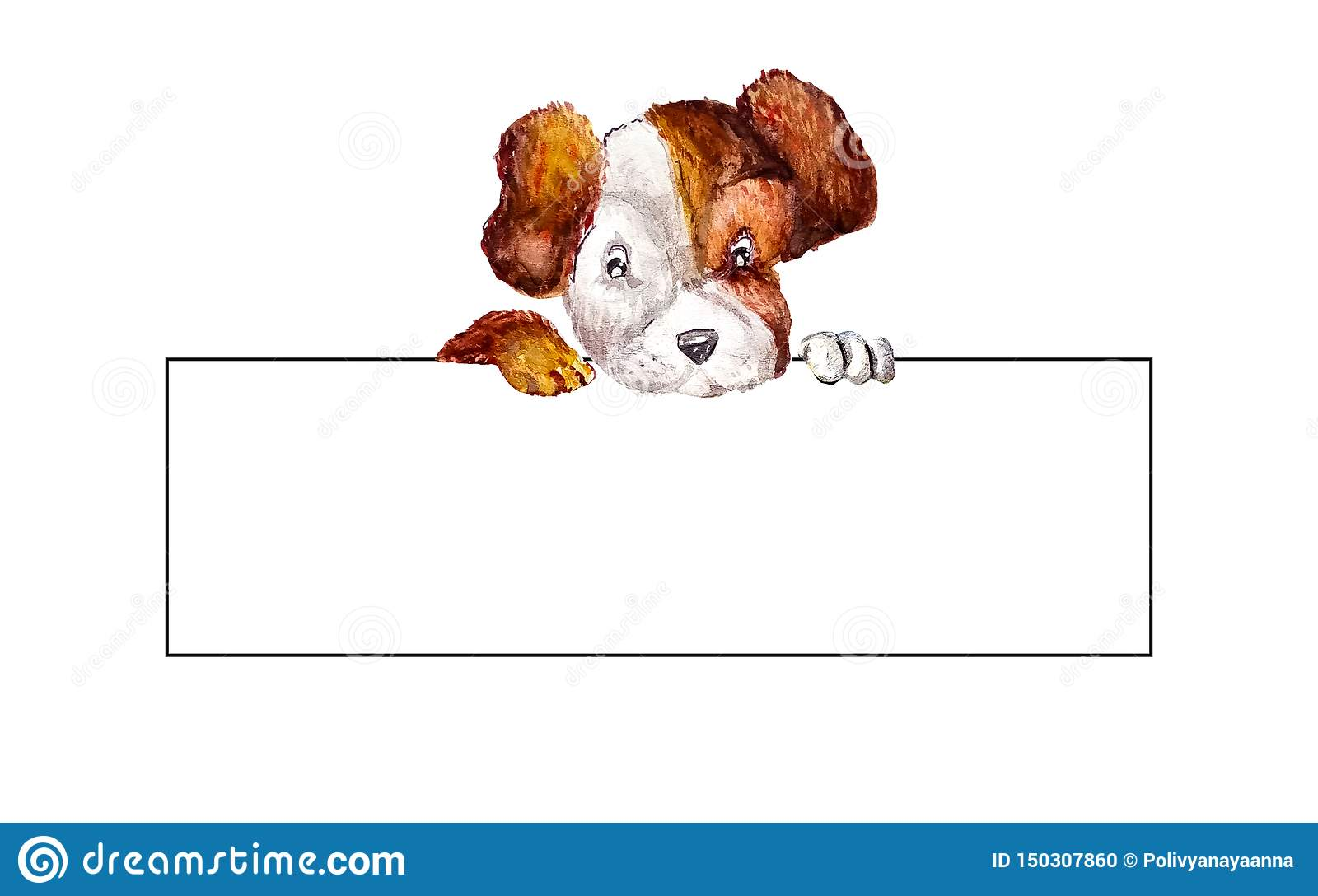 Little puppy jack russell terrier hanging their paws over a white long blank banner. Dog holding rectangle empty blank with copy