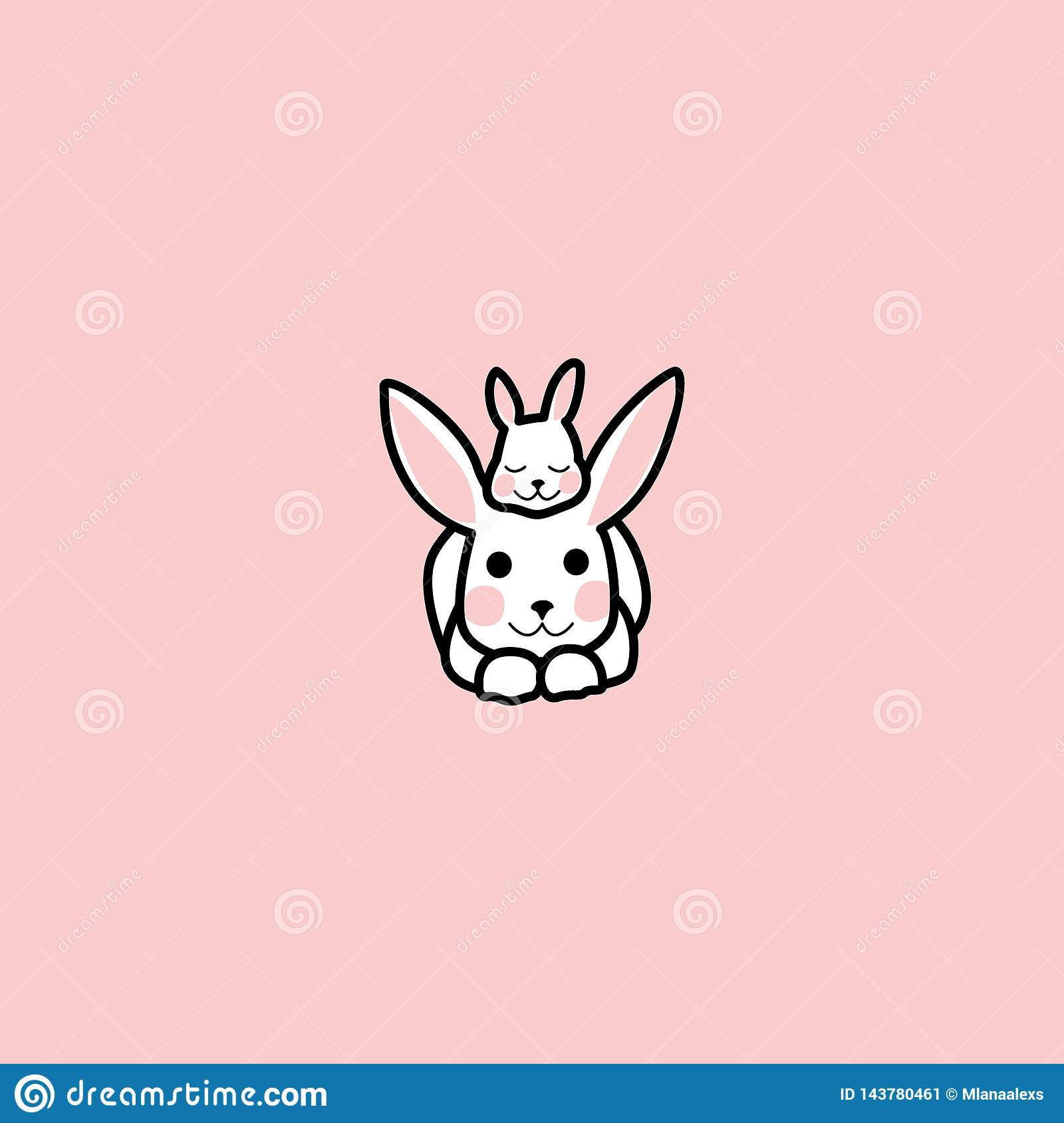 The little rabbit is lying on the head of the big rabbit. rabbit and his baby. funny bunny. hand drawn elements