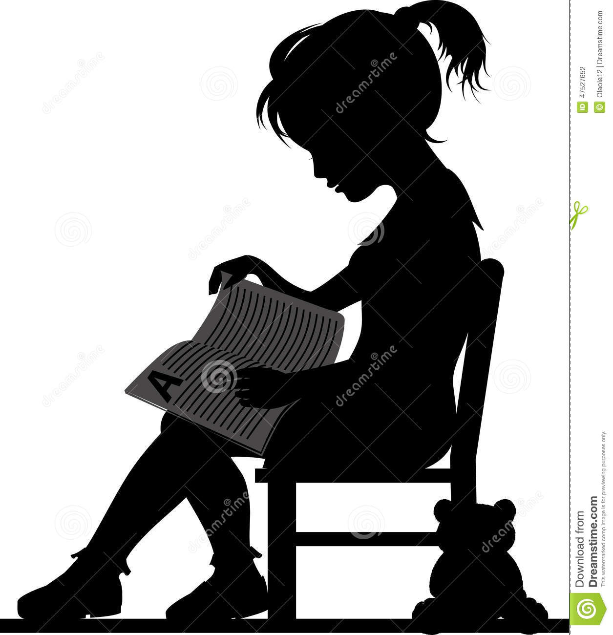 Vintage child rocking chair - Silhouette Of Little Girl Reading Book For Her Toy