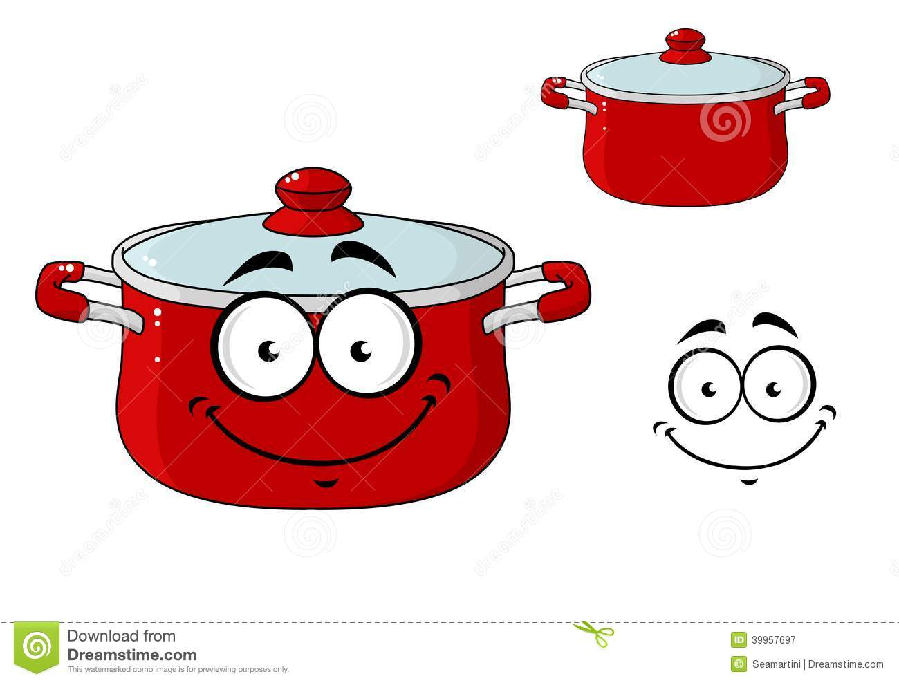Kitchen Design Tool Little Red Cartoon Cooking Saucepan With A Lid Stock