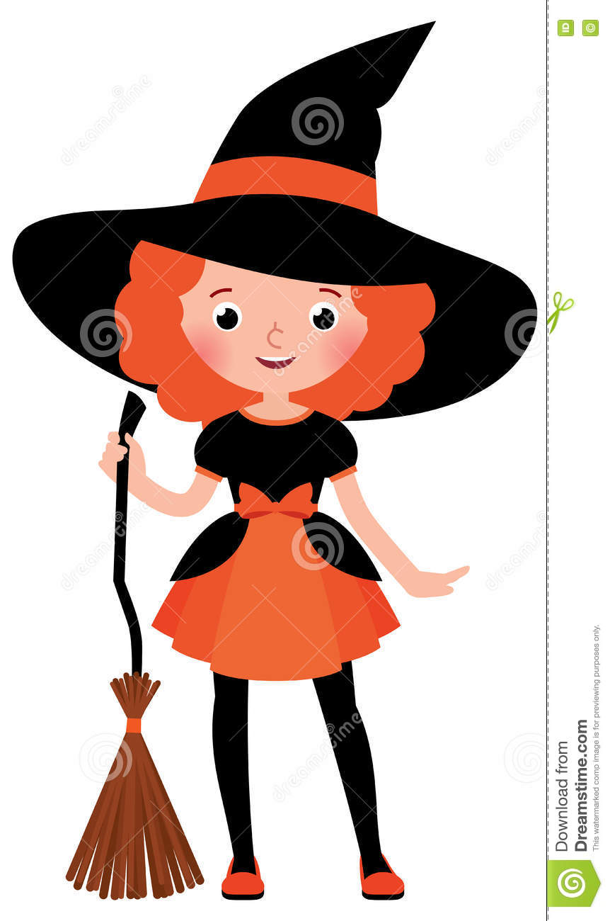 Little Red Haired Girl With A Broom In Halloween Witch Costume ...