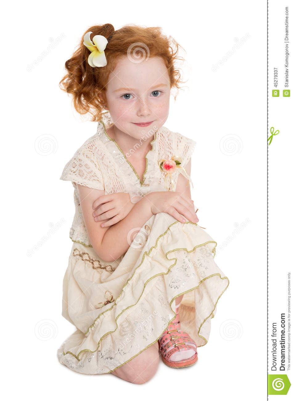 Little Red Haired Girl Sitting Stock Photo Image 45279337