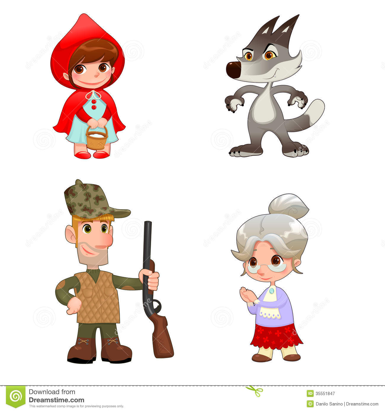 Little Red Hiding Hood's characters. Funny cartoon and vector isolated ...