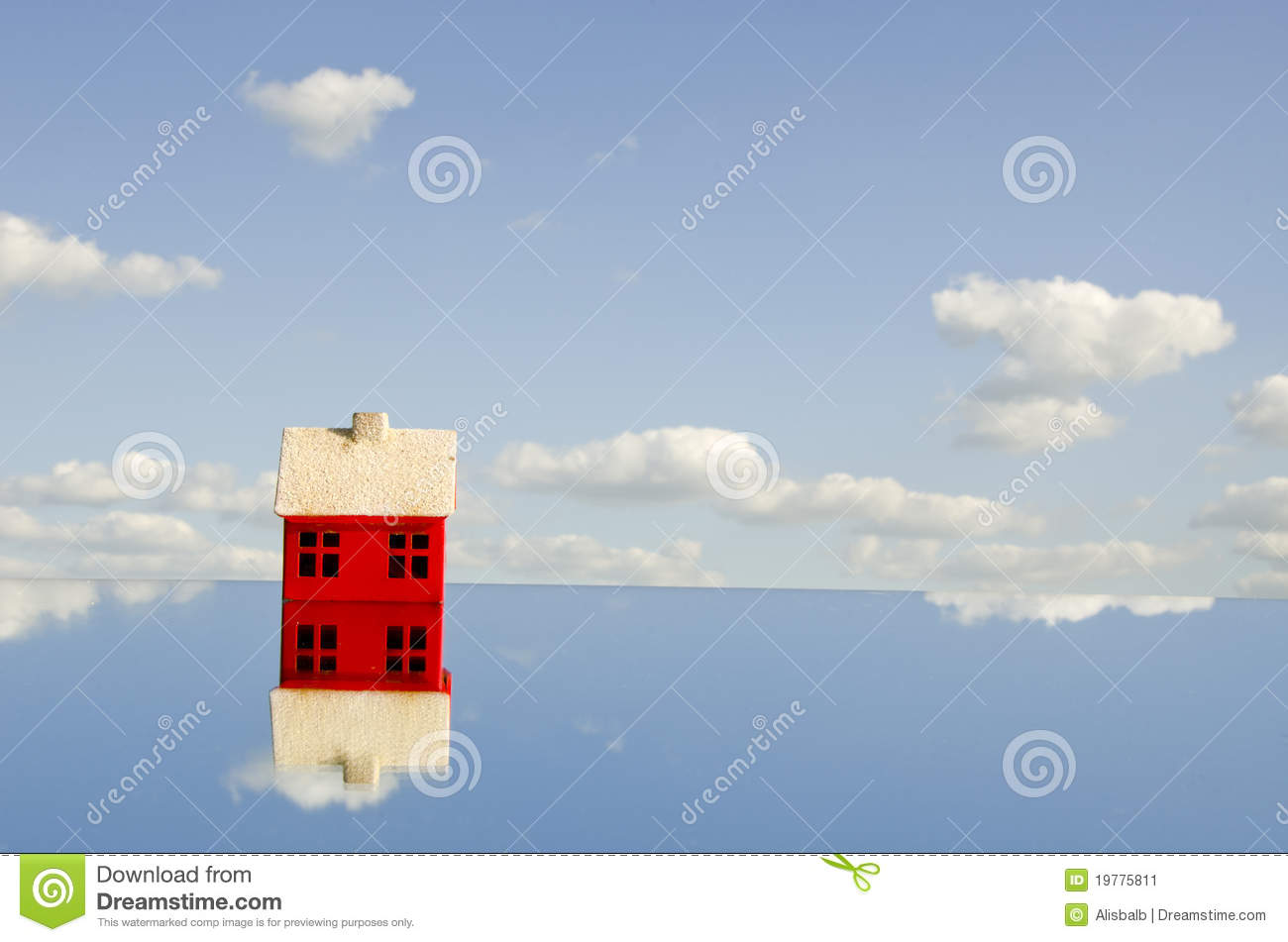 Little red house symbol on mirror