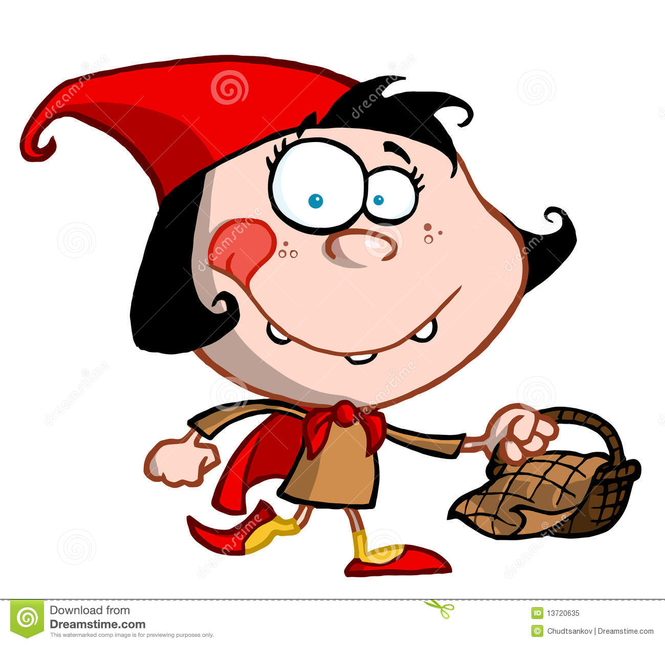Little Red Riding Hood Cartoon Girl Carrying A Bas Royalty