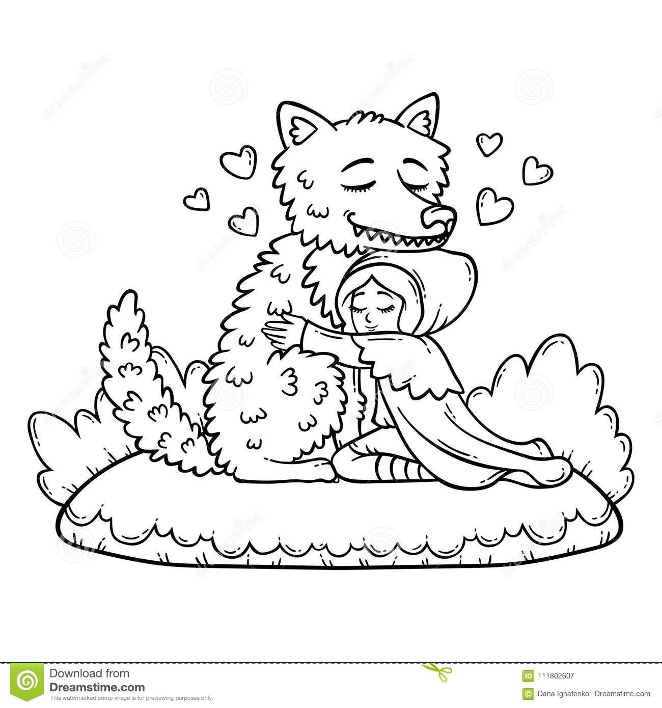 Little Red Riding Hood. Coloring Page. Stock Vector - Illustration ...