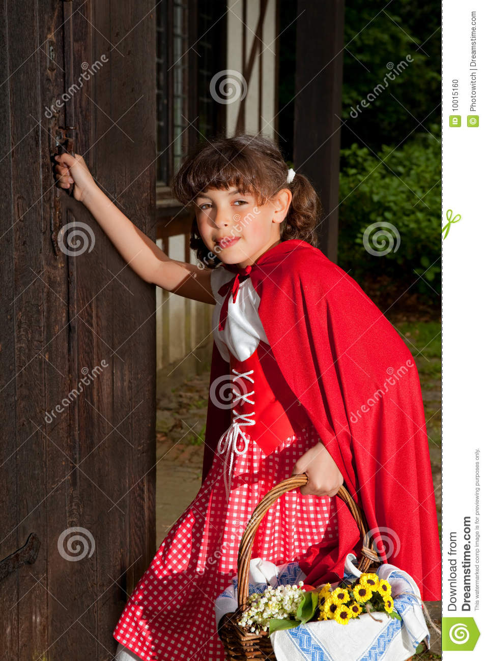 Little Red Riding Hood Knocking On Door Stock Photo Image Of Fairy