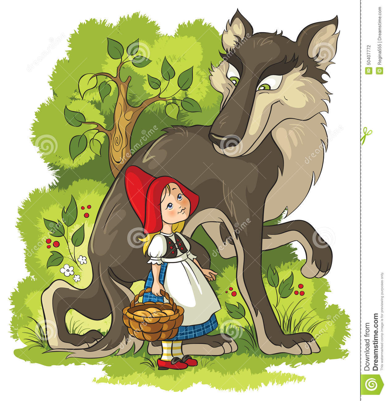 Little red riding hood wolf illustration more information little red riding hood and wolf in the forest stock vector little red sciox Choice Image