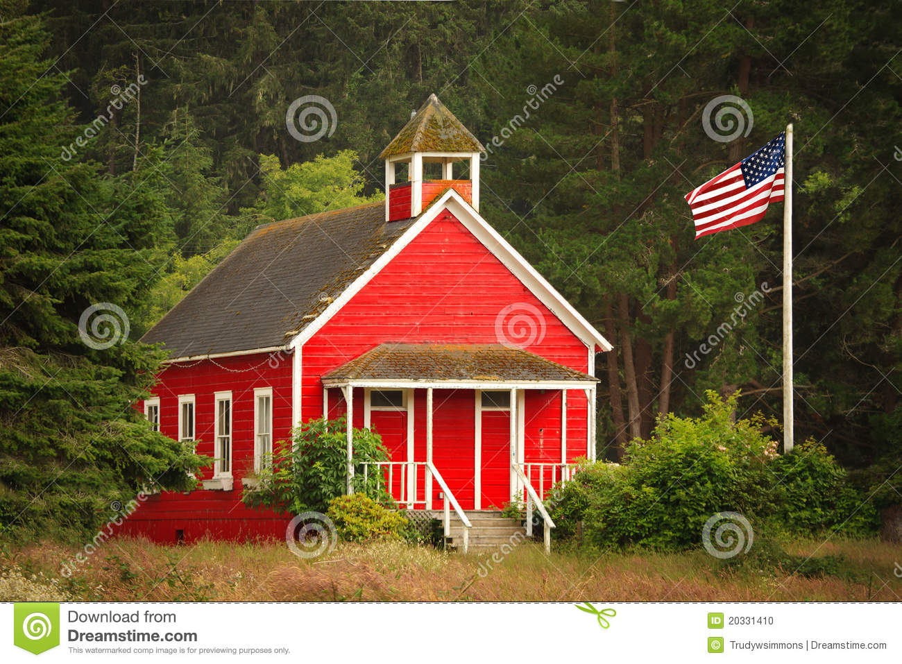 Little Red Schoolhouse With Flag Stock Photo Image Of