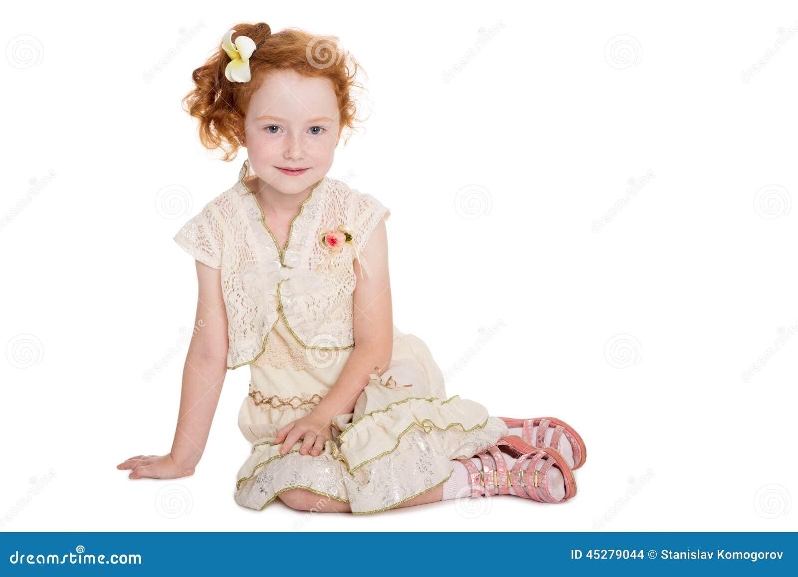 Little Redhead Girl Sitting Stock Photo Image 45279044